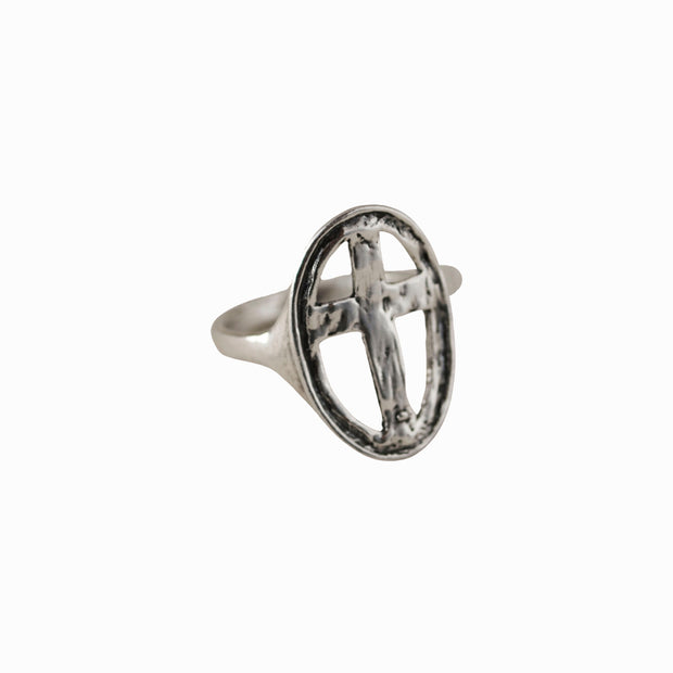 Carved Cross Ring