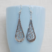 Scrolled Tear Drop Earrings