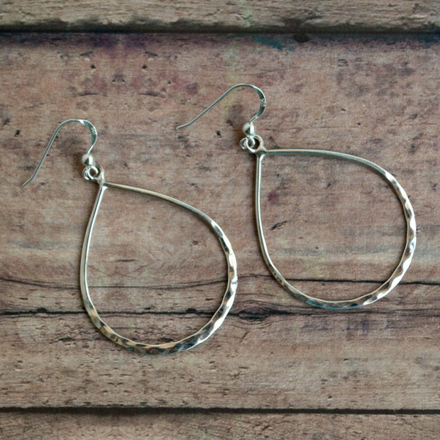 Hammered Sterling Hoop Earrings