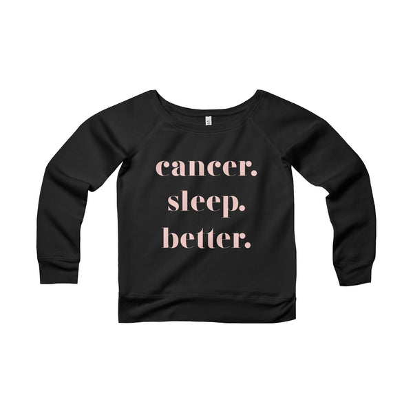 lounge. zodiac sleep better. off the shoulder sweatshirt. black