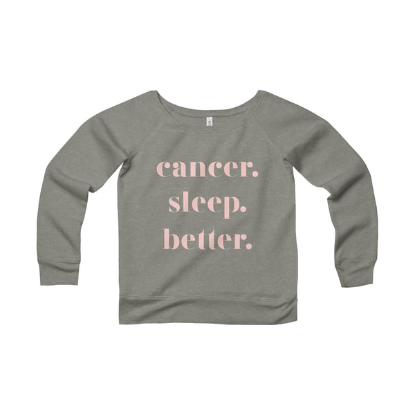 lounge. zodiac sleep better. off the shoulder sweatshirt. grey