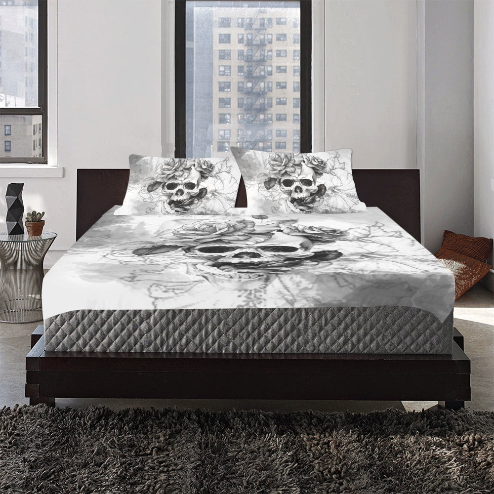 Charcoal Skull Printed Bedding Set Skull Obsessed