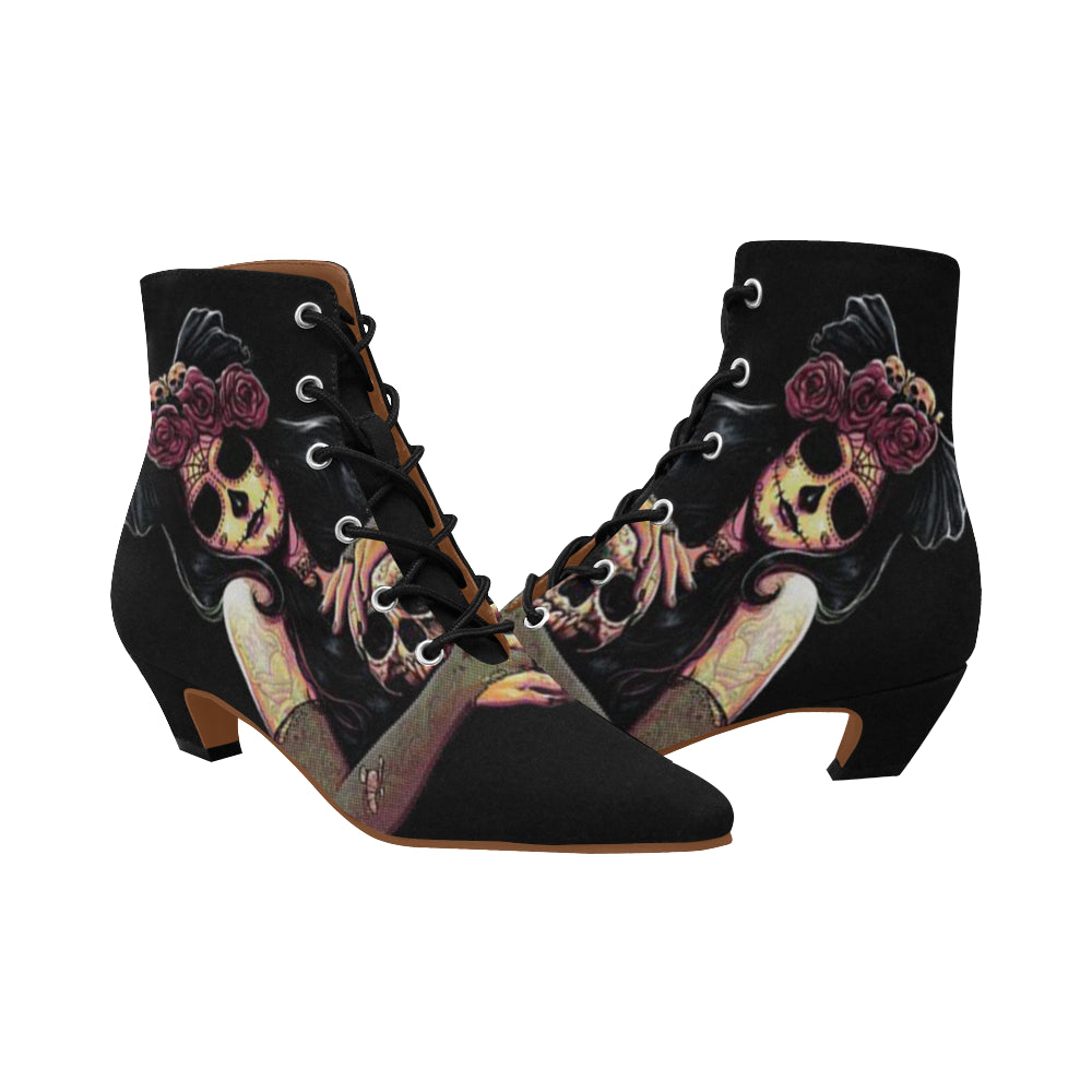 Gorgeous Skull Women s Chic Low Heel Lace Up Ankle High Boots ... 931d026d353a