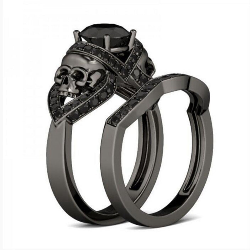Zircon Demon Skull Zircon Engagement Ring Set Skull Obsessed
