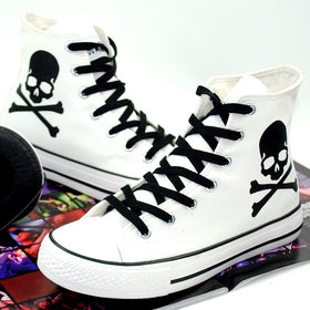 303f74b0442c High Top Lace Up Breathable Canvas Skull Shoes