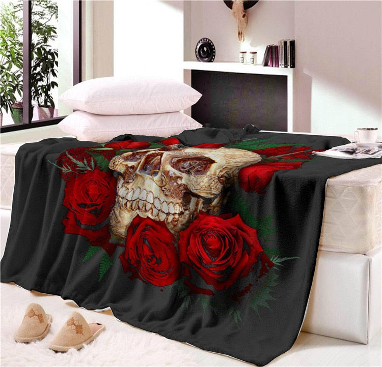 Super Soft Cozy Velvet Plush Skull Throw Blanket