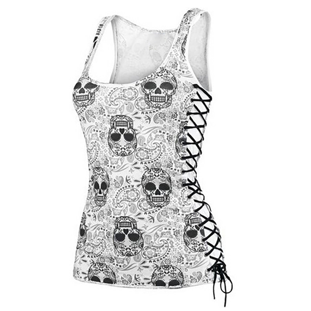Sugar Skull Head Design Sleeveless Summer Vest