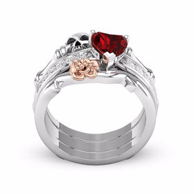 6a59287539fa77 Crystal Red Heart Flower Skull Rings