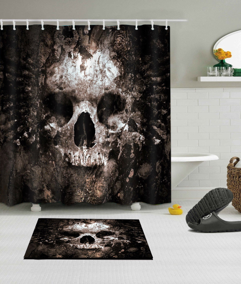 Rotten Skull Shower Curtain And Mat Set