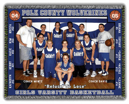 Basketball team photo blanket