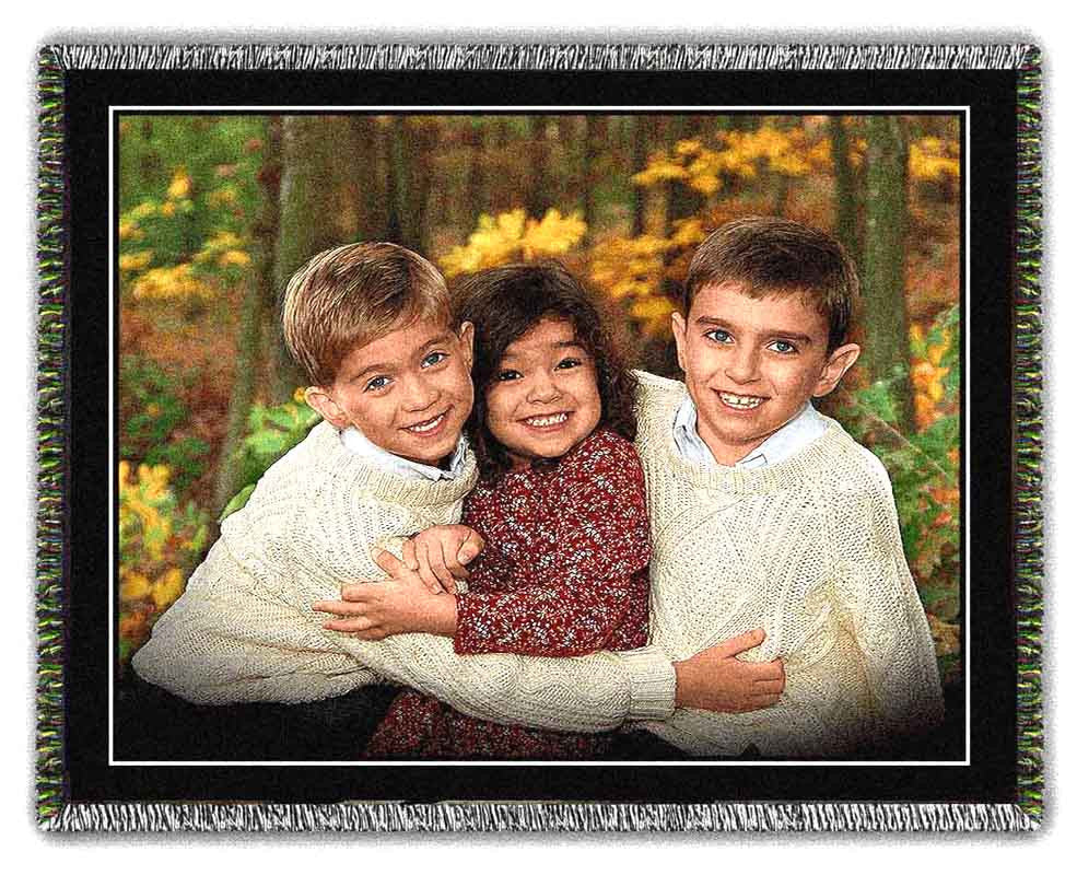 Family Portraits Woven on Blankets