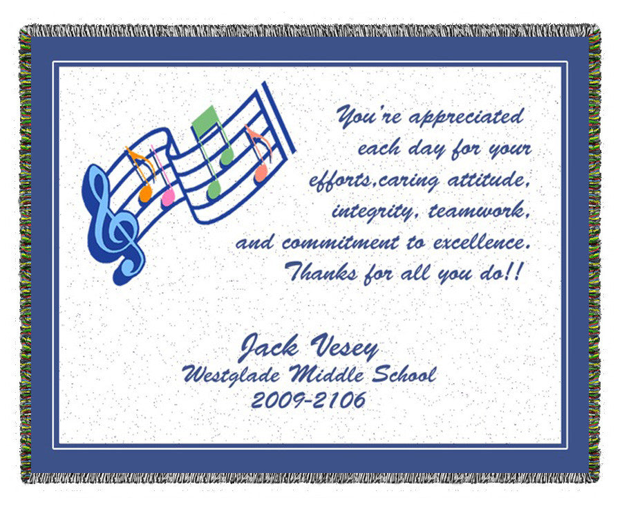Music Teacher Appreciation Woven Blanket