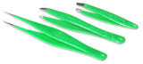 Premium Lime Glitter Tweezers Set