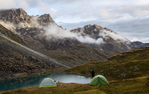 Tents camping on grass land in front of Alaskan mountain