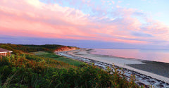 Cape Cod coast with sunset in background