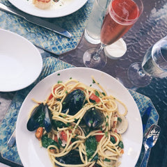 Clam and pasta dinner on a table