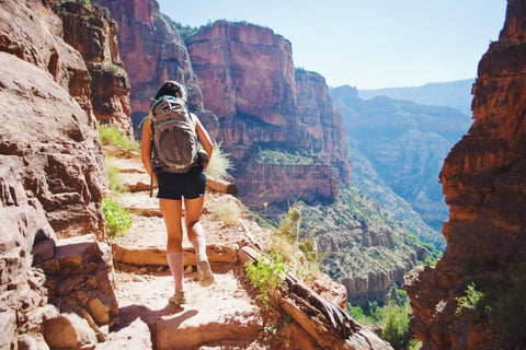 A girl hiking in the Grand Canyon