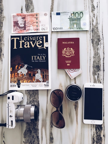 Passport, travel guide, phone, and other international travel essentials