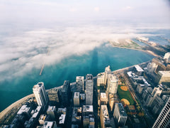 Above view of the edge of Chicago meeting Lake Michigan