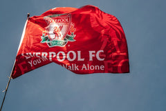 Liverpool Flag flowing in the wind