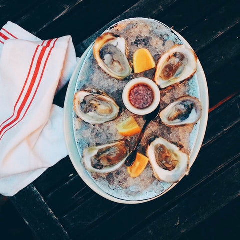 Oyster platter with lemons and sauce