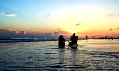 Two people sitting on the Florida coast watching the sun set
