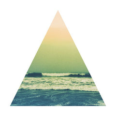 Triangle with a wave and sunset inside of it