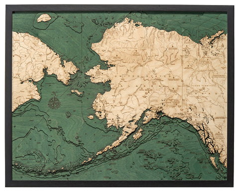 "Alaska 3-D Nautical Wood Chart, Large, 24.5"" x 31"""