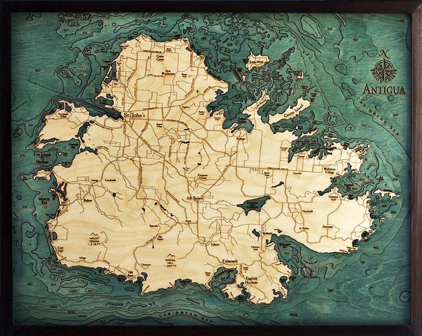 "Antigua 3-D Nautical Wood Chart, Large, 24.5"" x 31"""