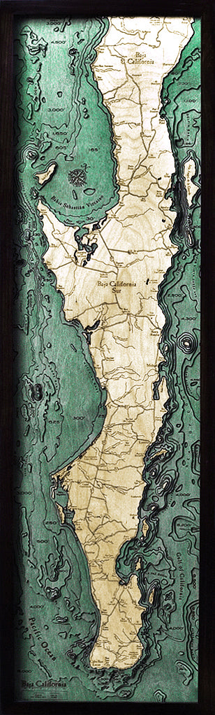 "Baja Peninsula 3-D  Nautical Wood Chart, Narrow, 13.5"" x 43"""