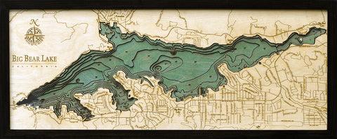 "Big Bear Lake, California 3-D Nautical Wood Chart, Medium, 13.5"" x 31"""