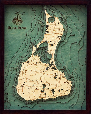 "Block Island, Rhode Island 3-D Nautical Wood Chart, Small, 16"" x 20"""