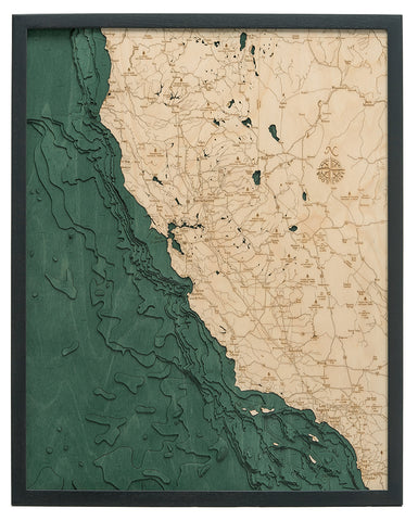 "California Coast 3-D Nautical Wood Chart, Large, 24.5"" x 31"""