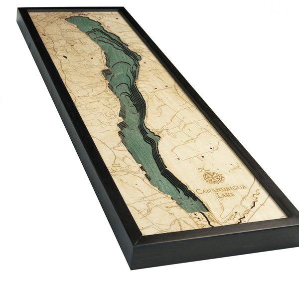 "Canandaigua Lake, New York 3-D Nautical Wood Chart, Narrow, 13.5"" x 43"""