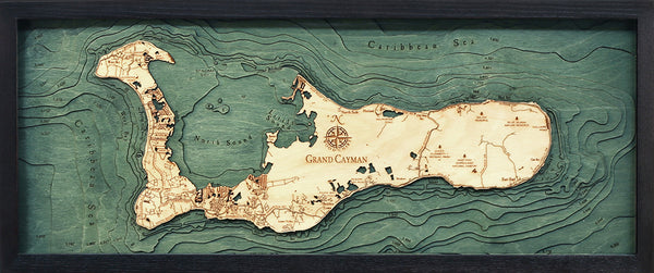 "Grand Cayman 3-D Nautical Wood Chart, Medium, 13.5"" x 31"""