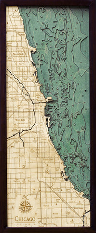 "Chicago, Illinois 3-D Nautical Wood Chart, Medium, 13.5"" x 31"""