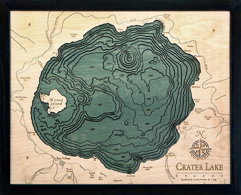 "Crater Lake, Oregon 3-D Nautical Wood Chart, Small, 16"" x 20"""