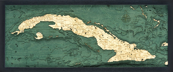 "Cuba 3-D Nautical Wood Chart, Medium, 13.5"" x 31"""