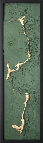 "Eleuthera and Cat Island, Bahamas 3-D  Nautical Wood Chart, Narrow, 13.5"" x 43"""