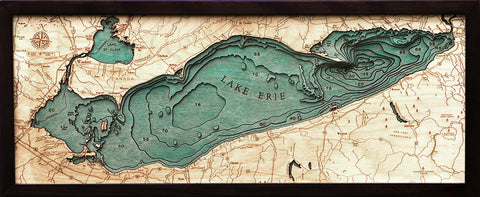 "Lake Erie 3-D Nautical Wood Chart, Medium, 13.5"" x 31"""