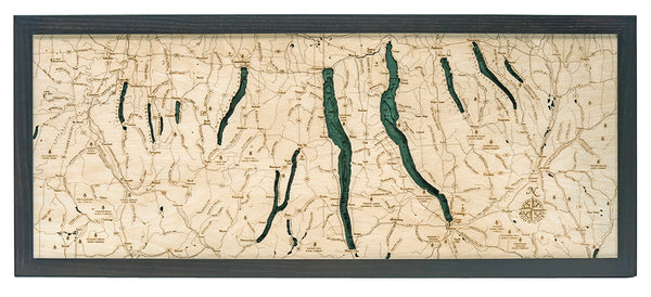"Finger Lakes 3-D Nautical Wood Chart, Medium, 13.5"" x 31"""