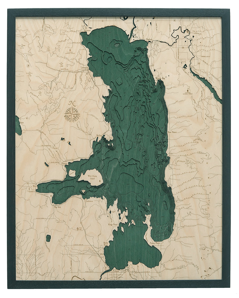 "Flathead Lake, Montana 3-D Nautical Wood Chart, Large, 24.5"" x 31"""