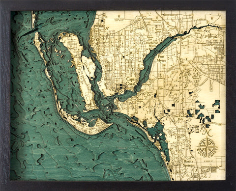 "Fort Myers 3-D Nautical Wood Chart, Small, 16"" x 20"""