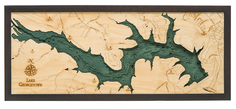 "Lake Georgetown, Texas 3-D Nautical Wood Chart, Medium, 13.5"" x 31"""