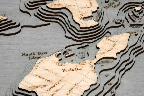 "Bass Islands / Put-in-Bay, Ohio 3-D Nautical Wood Chart, Small, 16"" x 20"""