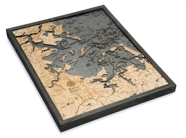 "Boston Harbor, Massachusetts 3-D Nautical Wood Chart, Large, 24.5"" x 31"""