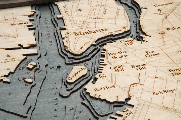 "Brooklyn, New York 3-D Nautical Wood Chart, Large, 24.5"" x 31"""