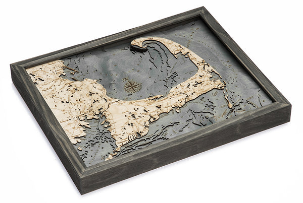 "Cape Cod, Massachusetts 3-D Nautical Wood Chart, Small, 16"" x 20"""