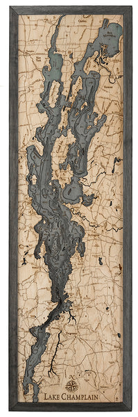 "Lake Champlain 3-D Nautical Wood Chart, Narrow, 13.5"" x 43"""