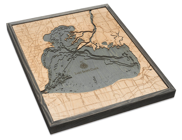 "Lake St. Clair, Michigan 3-D Nautical Wood Chart, Large, 24.5"" x31"""
